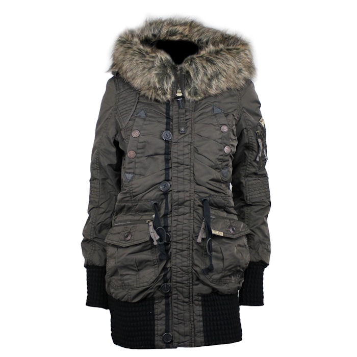 khujo damen winterjacke cille dunkelbraun ebay. Black Bedroom Furniture Sets. Home Design Ideas