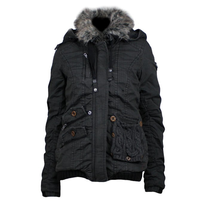khujo damen winterjacke felice anthrazit kariert ebay. Black Bedroom Furniture Sets. Home Design Ideas